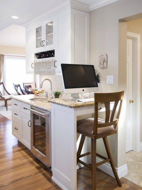 Small Corner Kitchen Desk Design, Pictures, Remodel, Decor and Ideas