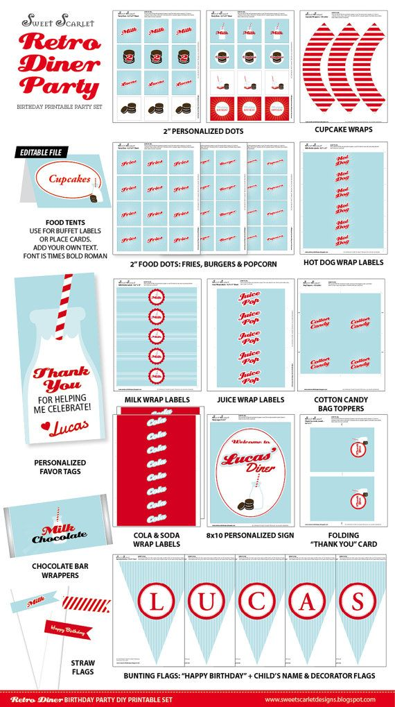RETRO Diner Party Printable Set  Cupcake by SweetScarletDesigns, $40.00