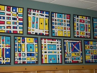 First Grade Mondrian Art - from What's Happening In The Art Room... Saw a variation of this where you outline in glue to keep crayons from going outside the lines.