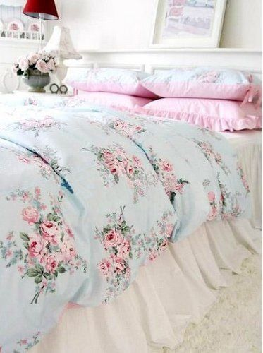 the shabby chic home floral bedding bedding and pastel. Black Bedroom Furniture Sets. Home Design Ideas