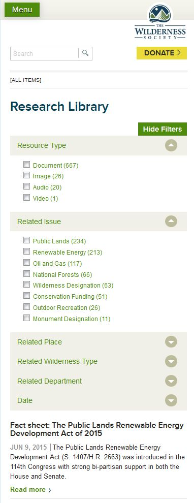 Research library on Wilderness Society website. Also responsive site. Note how you can filter in mobile view.