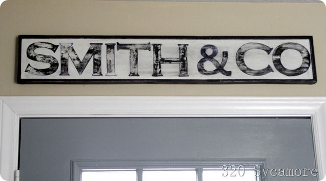 kitchen sign: print out letters onto cardstock, cut them out, trace them, fill them in with paint/sharpies, rough it up with sandpaper.