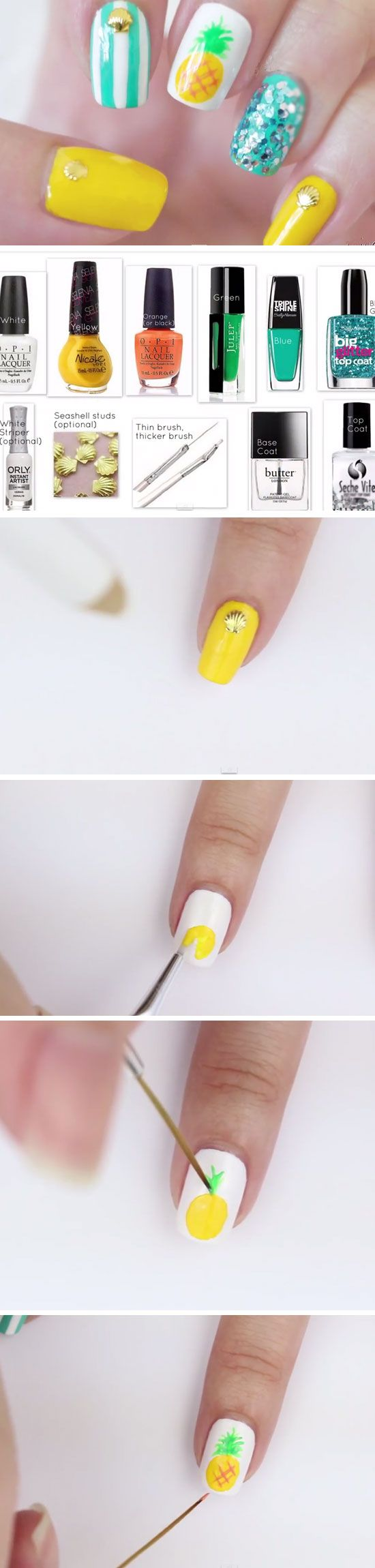 Best 25 funky nail designs ideas on pinterest funky nails tropical pineapples cute summer nail art ideas for short nails prinsesfo Choice Image