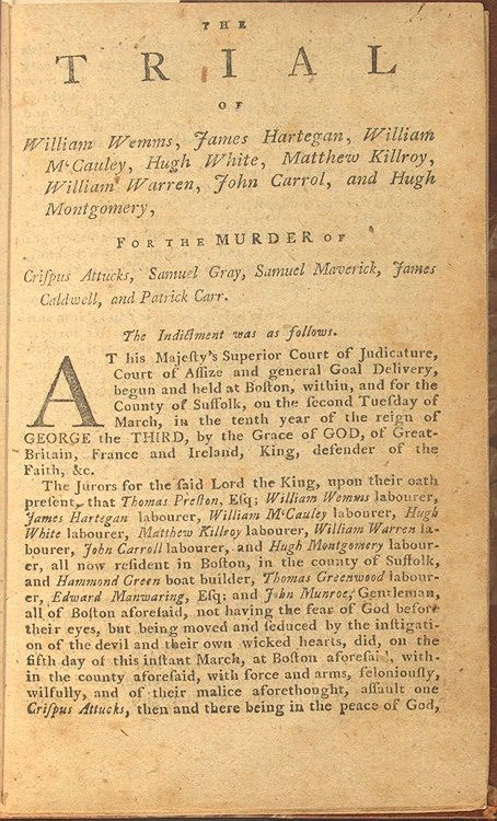 William Wemms was charged with the murder of Crispus Attucks, one of the first casualties of the Revolutionary War. This article discusses his trial and charges.
