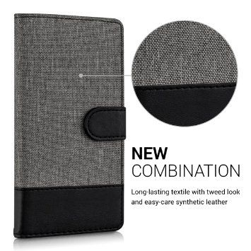 kwmobile Flip Cover Case for Samsung Galaxy S5 / S5 Neo - Protection case Cover Bookstyle made of synthetic leather and fabric in Grey Black with: Amazon.ca: Cell Phones & Accessories