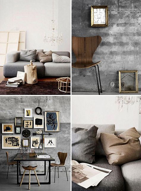 beihttp://pinterest.com/pin/2291427/edit/ge / grey / brown / wall / chairi / decor / details / photographs / sofa