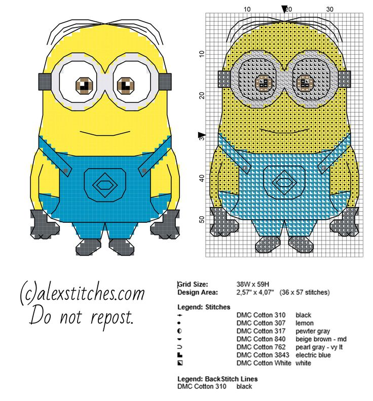 The Minion Dave from Despicable Me cartoon movie cross stitch pattern small size with backstitch use 36 x 57 - free cross stitch patterns by Alex