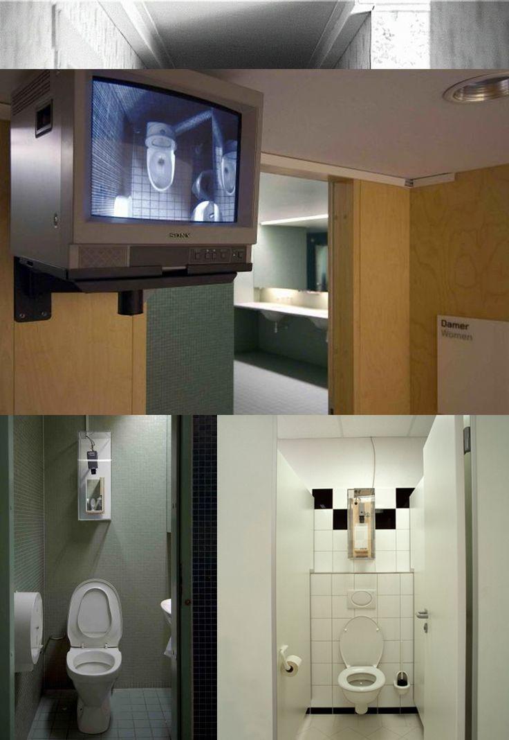 """Jonas Dahlberg - """"Safe Zones"""" (2004) l'intervento consisteva nell'apparente collocazione di videocamere di sorveglianza nei bagni, che in realtà sono soltanto riprodotti in modellini e poi filmati. L'operazione mira a far riflettere sulle nostre attese riguardo alle videocamere di sorveglianza e sulle nostre sensazioni riguardo all'essere osservati/spiati."""