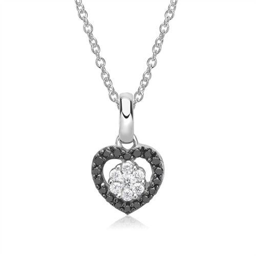 Anhänger 585er Weißgold schwarze, weiße Diamanten Kette https://www.thejewellershop.com/ #weißgold #anhänger #gold #jewelry #schmuck #black #herz #chain #kette #necklace #diamonds #diamanten #heart