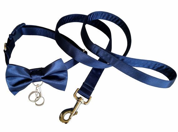 Walk your dog down the aisle in style with this Ring Bearer Dog Collar with matching leash. This collar is made with lustrous satin fabric over a heavy nylon webbing core. Bow tie is removable and can be attached anywhere on the collar. Metal clasp is spring loaded and will securely holds your rings. Nickel hardware and a heavy duty white plastic buckle add the final touch. Matching leash is 4 long. This collar would also be a great way to propose to your love! I accommodate special…