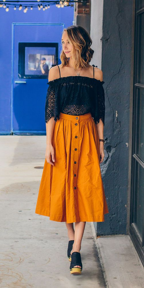 H&M City Diaries 2016 Wide Cotton Flared Button Midi Skirt Mustard UK 12 38 US 6 in Clothes, Shoes & Accessories, Women's Clothing, Skirts   eBay