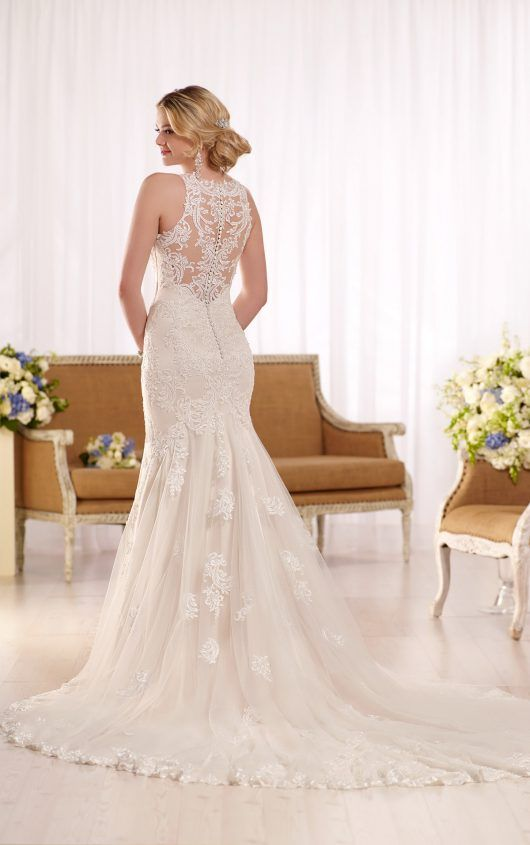 Tattoo lace back trumpet wedding dress by Essense of Australia available at The Bridal Cottage in NLR, AR