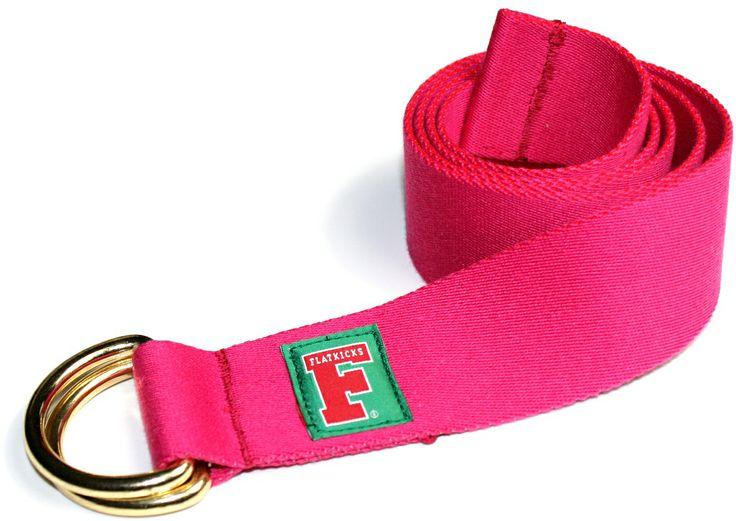Flatkicks, D-Ring belt, varsity F woven label, pink www.flatkicks.com