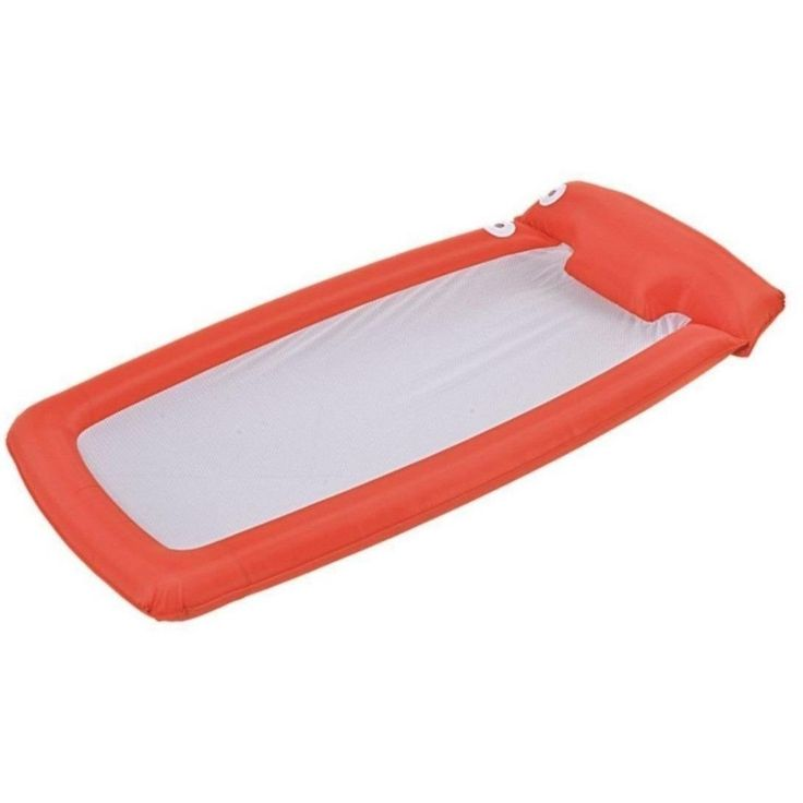 "Jilong 72.5"" Orange and White Mesh Inflatable Swimming Pool Lounge Float 32148171"