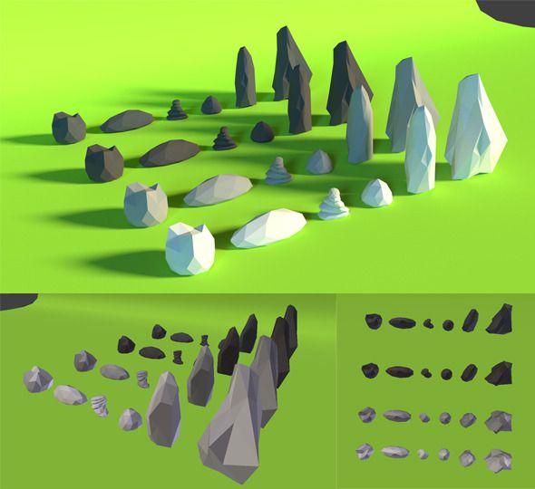 LowPoly Rocks .Pack4