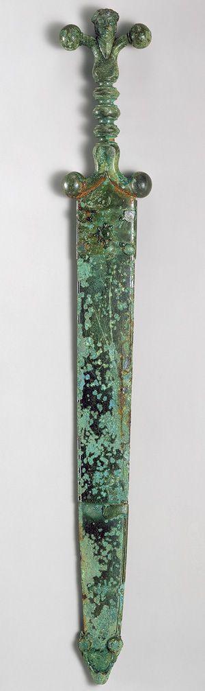 Sword, mid-1st century b.c.; Late Iron Age (La Tène) Celtic Iron blade, copper alloy hilt and scabbard
