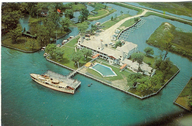 Harsens Island MI Aerial St. Clair Flats Idle Hour Hotel and Restaurant Marina and Grocery a Mariners Playground Laurie Wilson Dexter Card 14333B Unsent | Flickr - Photo Sharing!