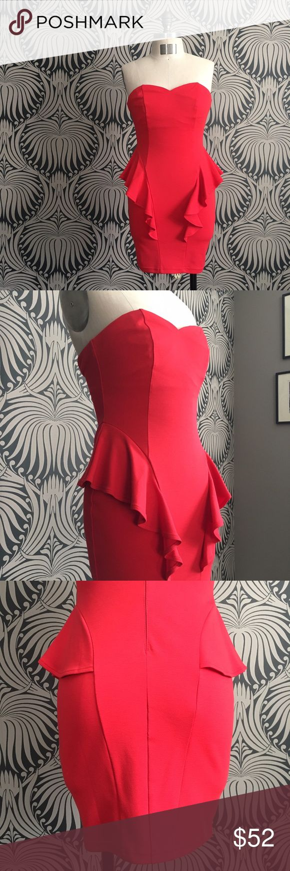 ASOS Red Dress Sexy bombshell red dress by Lipsy from ASOS. US size 6, which is a UK 10. Comes with an optional set of straps which you can attach and adjust to your liking. New and in excellent condition. ASOS Dresses Mini