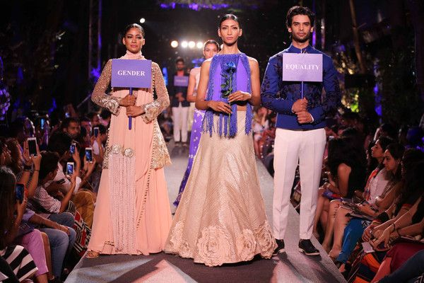 The 'Blue Runway' collection was presented in association with the WEvolve Campaign (with the World Bank) in an effort to draw attention to gender-based violence