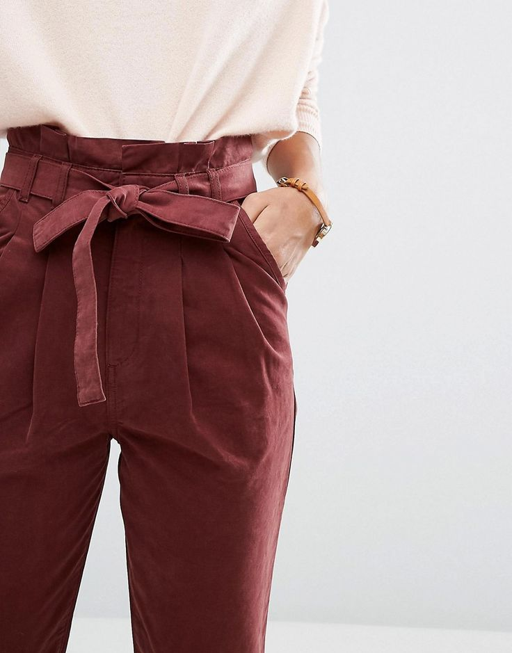 Image 3 of ASOS High Waist Paperbag Straight Leg Trousers