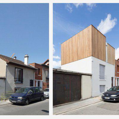On a conservé les ouvertures de façade côté rue. Le toit à deux pans a été supprimé et remplacé par un toit terrasse.