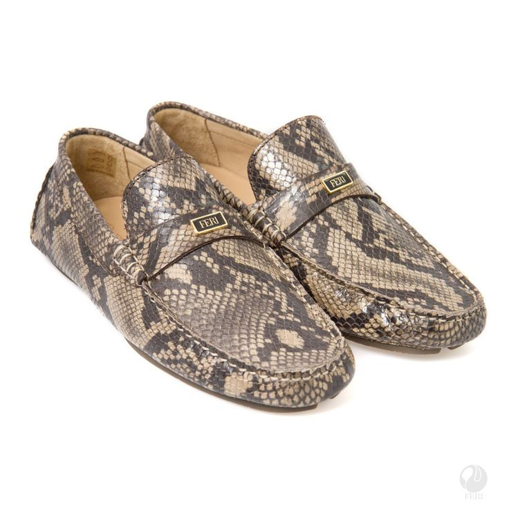 Men's snake skin pattern Leather Casual Loafers by FeriStore on Etsy