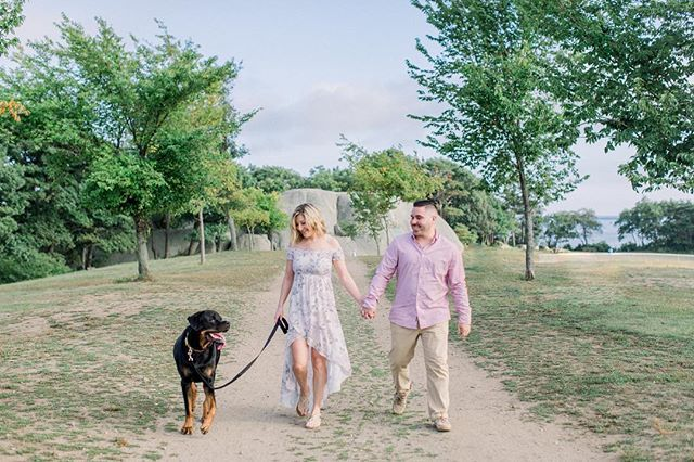 Coastal Engagement Session With A Dog At Stage Fort Park In