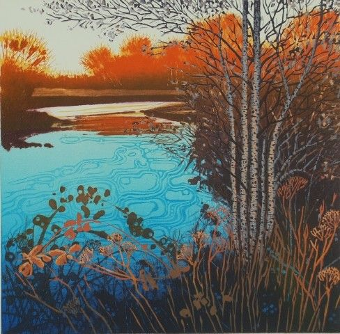 """""""Dusk at Clay pots Corner"""" reduction linocut by Mark Pearce Edition of 42"""