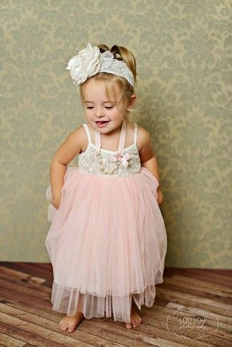 Pretty pink tulle and crochet party dress.