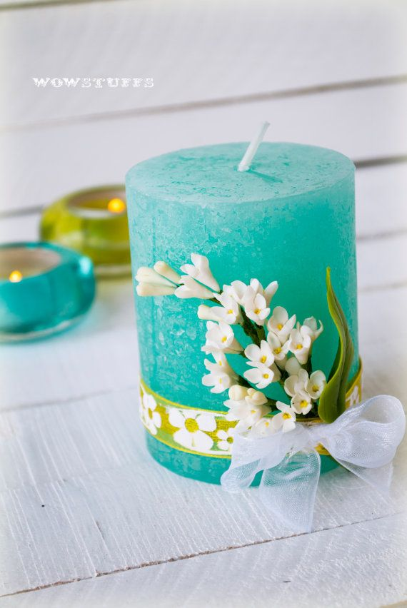 White lilac turquoise floral candle home decoration, Lilac, Yellow, Polymer clay, Artificial flower, Boho, Cold porcelain, Realistic flowers