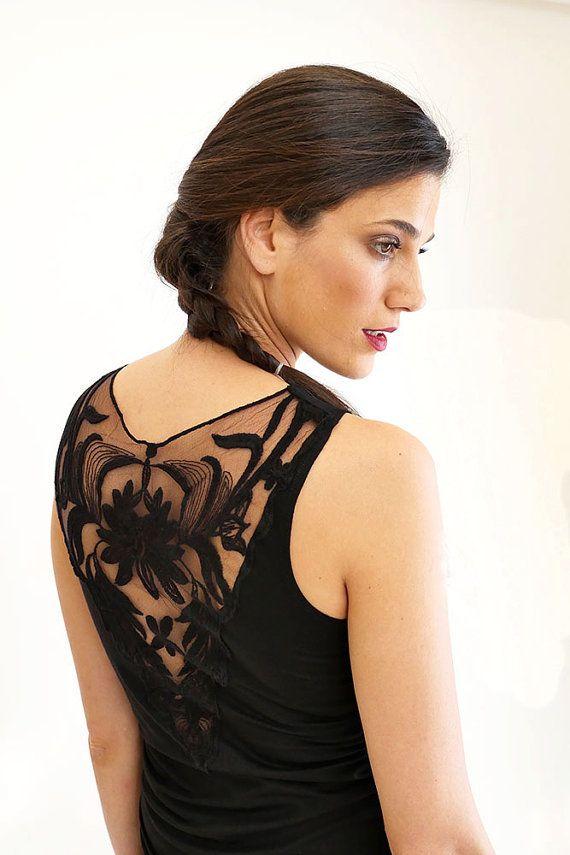 Black Lace Top Shirt Top di pizzo indietro base di eeshadesign