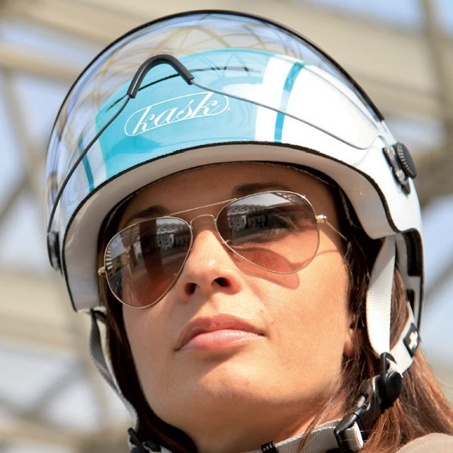 Cool townie bicycle helmet by Kask.  I like the Italian stying & visor.  Not cheap at $200, but I like it.
