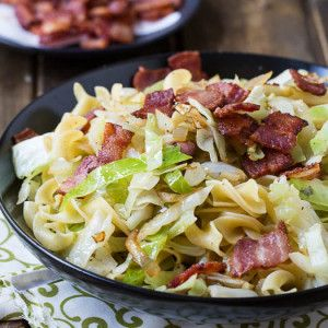 Cabbage and Noodles is a simple, inexpensive comfort meal. The cabbage is sautéed in bacon fat and tossed with buttered noodles.