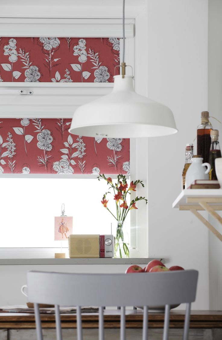 Red abstract floral Intu roller blinds from Apollo Blinds.