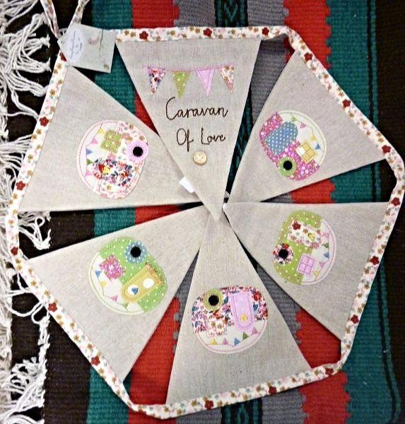 Decorate your caravan camper tent holiday home or house in style with this super cute caravan deisgn bunting Consisting of 6 natural coloured linen