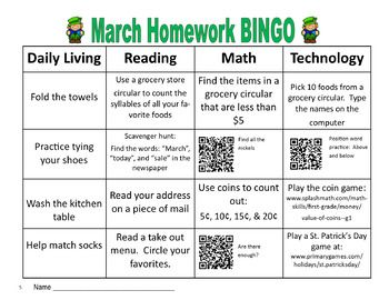 March Homework BINGO with QR Codes:  Great functional homework skills for Special Education students