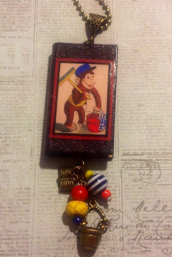 Curious George Takes a Job Book Necklace  by JensJunqueDrawer