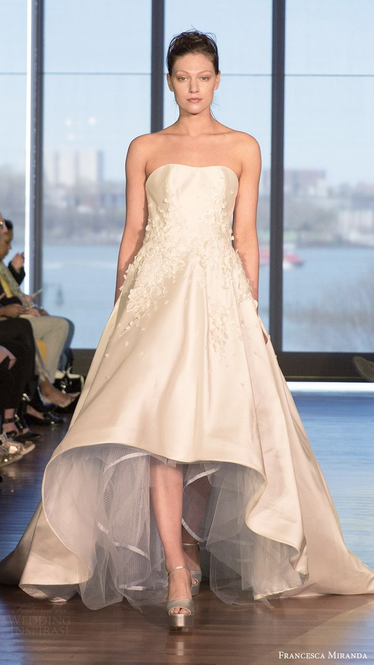 francesca miranda bridal spring 2017 strapless semi sweetheart mullet wedding dress (coco) mv