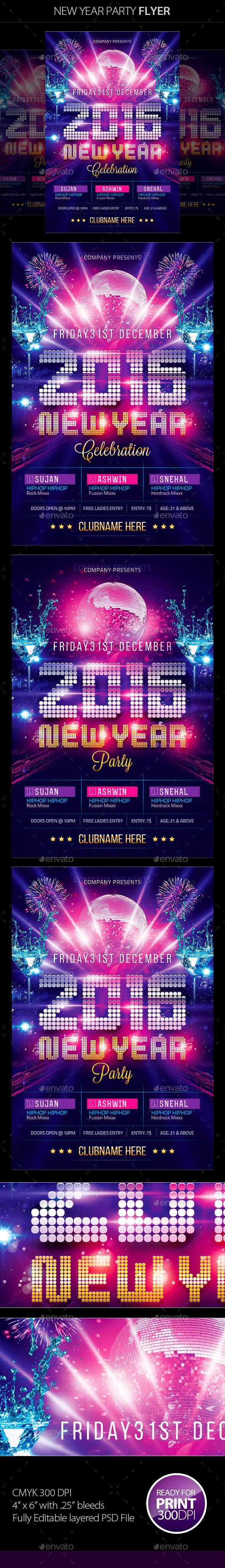 New Year Party Flyer Template PSD #design #nye Download: http://graphicriver.net/item/new-year-party-flyer/9522866?ref=ksioks