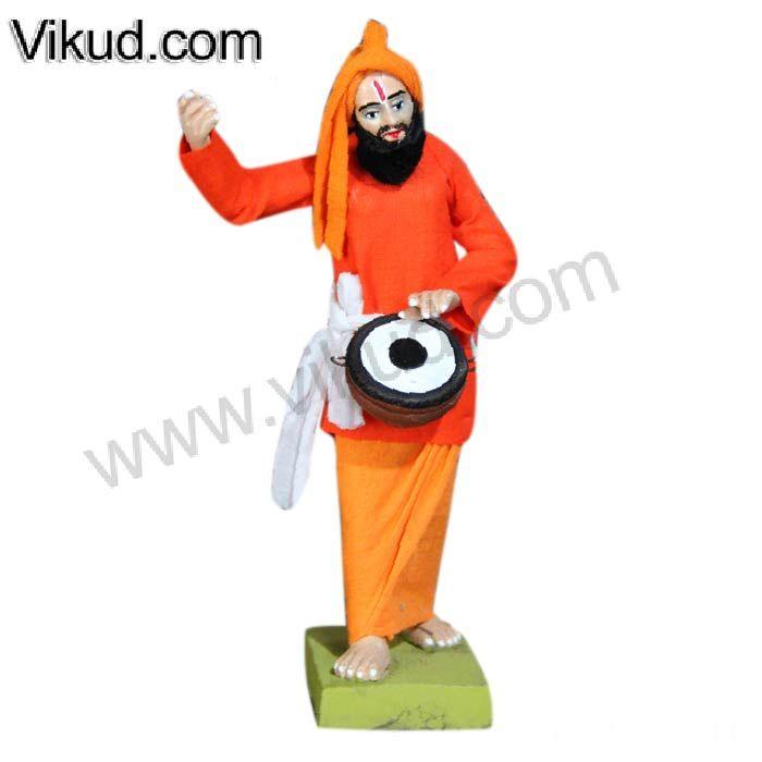 Terracotta-Rajasthani Men Playing Drums Doll