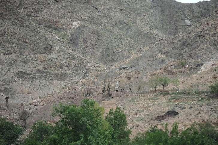 Fragment obszaru doliny, na którą spadła bomba
