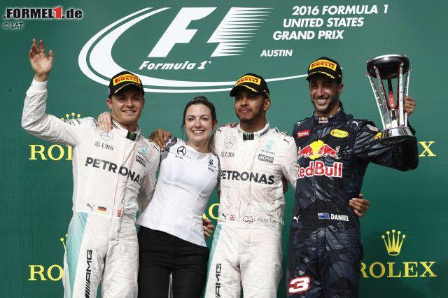 """50. Grand-Prix-Sieg für Lewis Hamilton - aber nur verhaltene Freude darüber: """"Ist ganz okay"""", sagt der Mercedes-Star, im fünften Formel-1-Rennen in Austin zum vierten Mal erfolgreich. Sein Rückstand in der WM beträgt nun nur noch 26 statt 33 Punkte. Und drei Rennen sind noch zu fahren."""