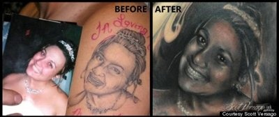 Left: The original tattoo. Right: The final result.