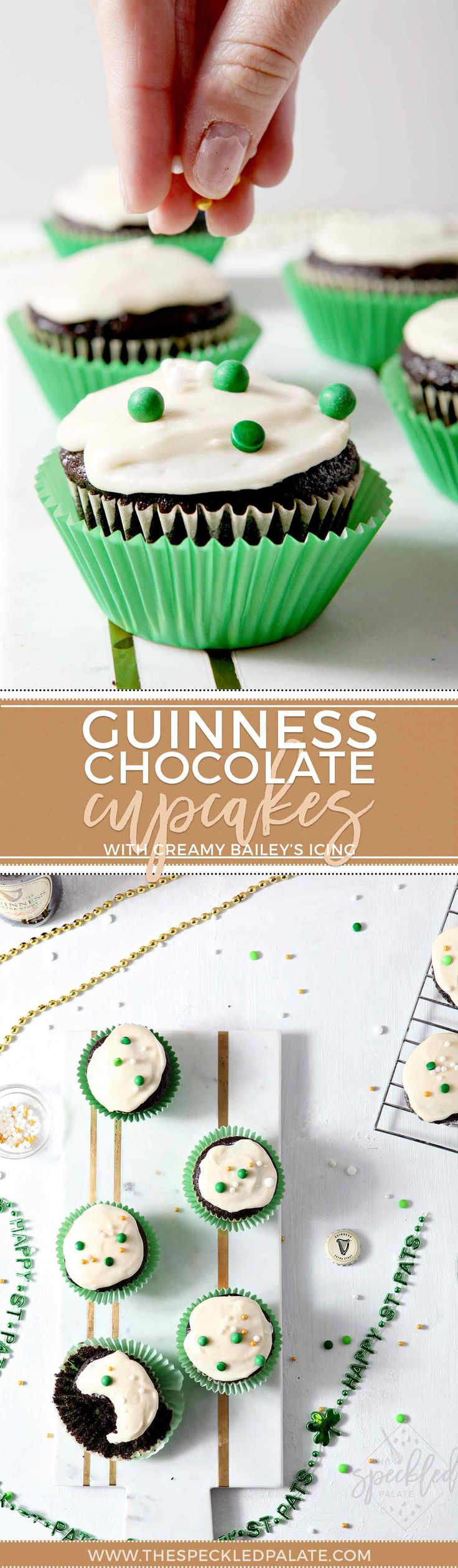 Chocolate Guinness Cupcakes with Creamy Bailey's Icing Pinterest collage, featuring two images of the cupcakes being decorated and displayed on a marble platter