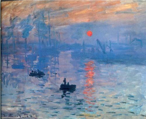 IMPRESIONISMO: Monet, sol naciente, 1874, esta pintando la luz sobre el puerto no el puerto en sí mismo No se necesita tanto abusó cromático, ellos estas subrayando los colores.