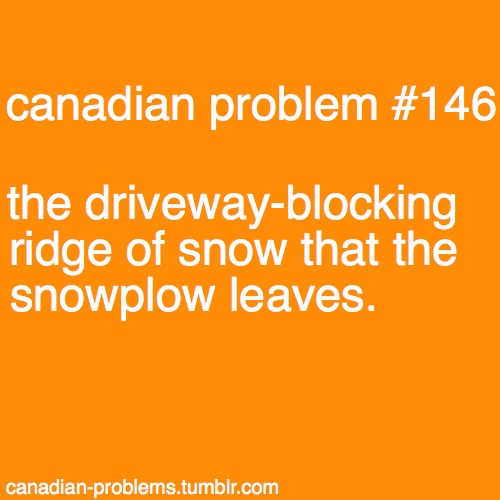 Canadian Problem #146. And just when you get it all cleaned up and go back inside, the plow comes by and blocks you in again!