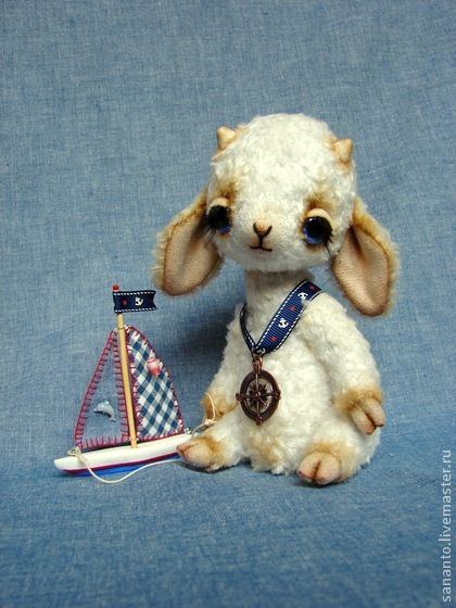 "*UTHER STUFFED THINGS ~ Lamb-Teddy bear handmade.  Fair Masters - handmade teddy-Lamb ""Marek""."