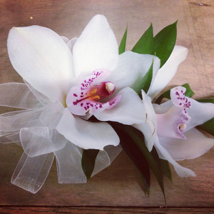 White cymbidium orchid corsage prom corsage i created at buds n bloom