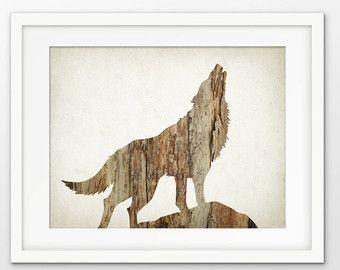 Art Print - grijze Wolf Art Poster - hout-Wolf Art Print - moderne hout Home Decor - grijze Wolf Art Poster - Wolf Wall Art Poster Wolf