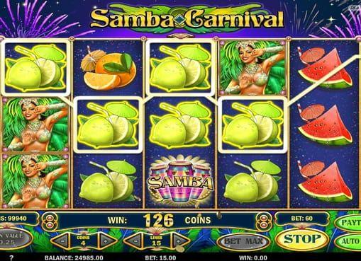 Samba Carnival в казино с моментальным выводом денег. Посетите бразильский карнавал и получите за это реальные призы прямо в онлайн казино! Моментально выводить деньги из игры Samba Carnival поможет масса уникальных бонусов.   Денежные подарки участникам фестиваля Запуст